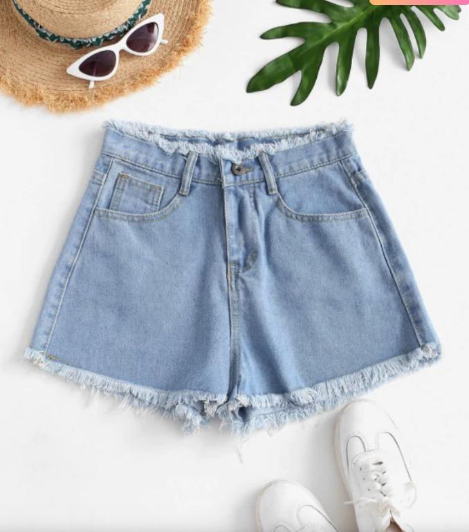 BNWT Frayed Hem High-waist Mini Denim Shorts