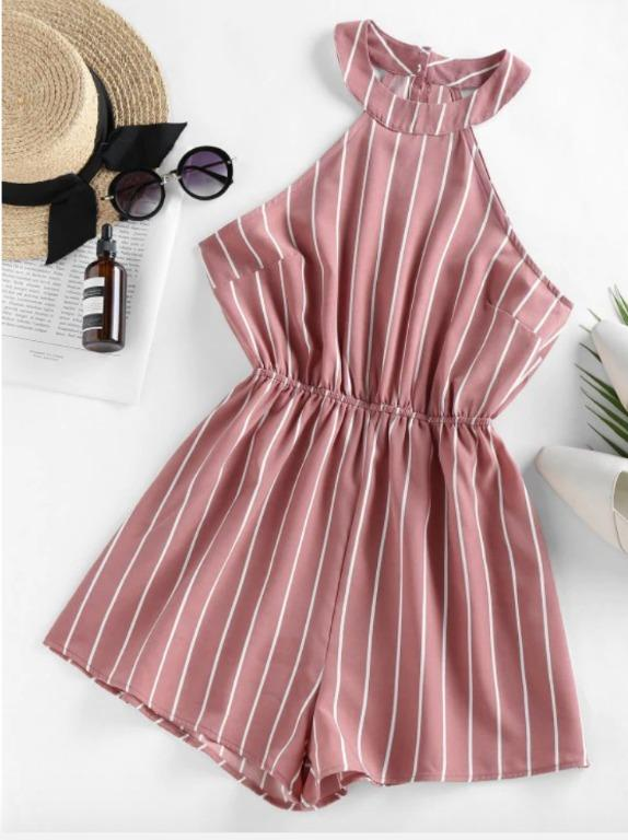BNWT Stripe Sleeveless Romper - Rose