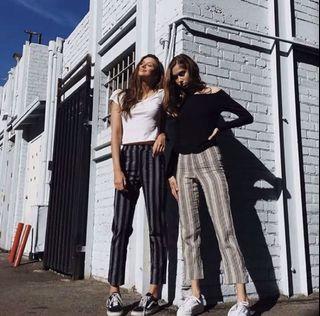 Brandy Melville 同款 訂製款 經典Tilden款 灰黑條紋 九分顯瘦高腰彈性直筒褲