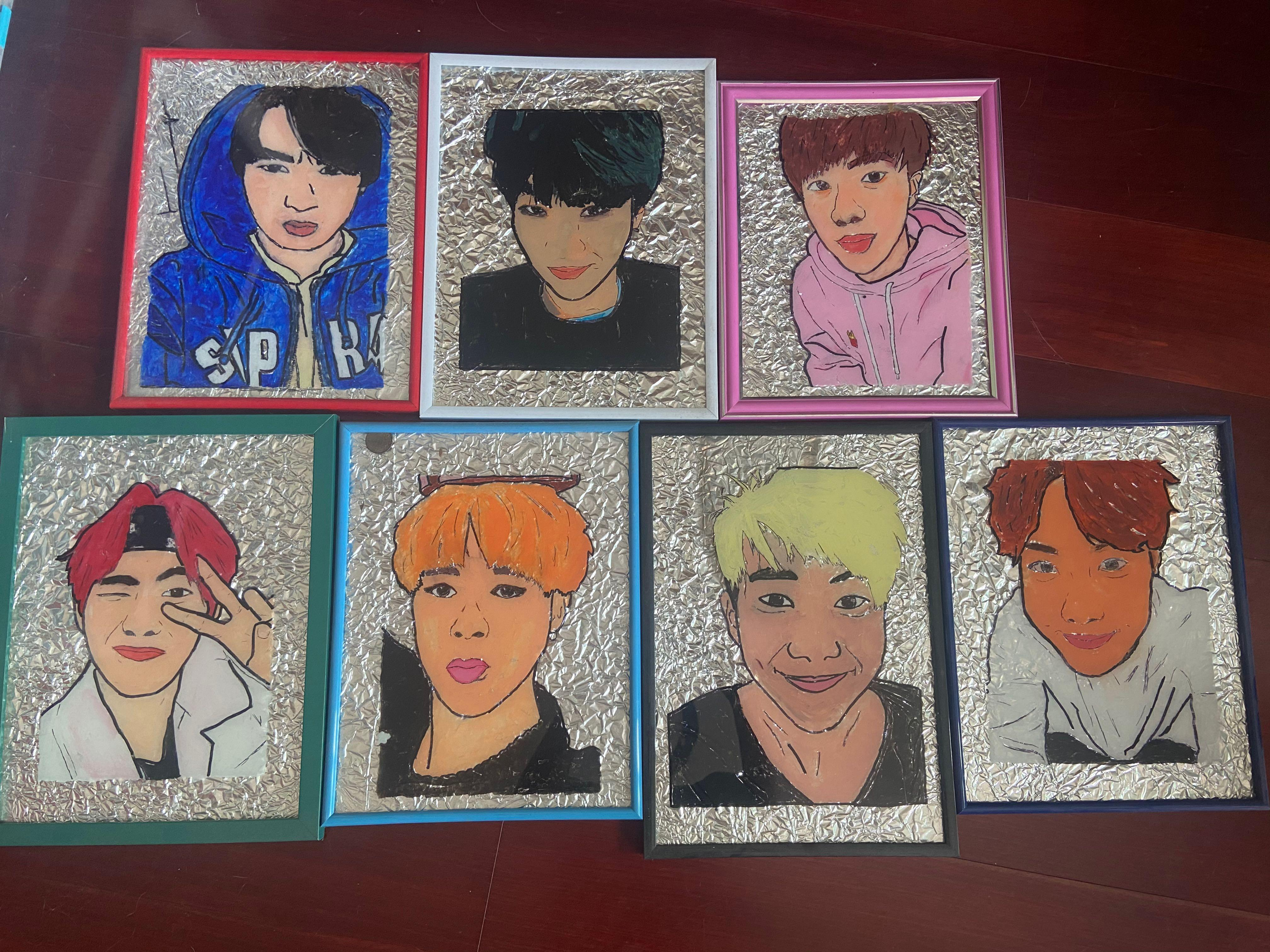 Bts Stained Glass Artwork Design Craft Artwork On Carousell