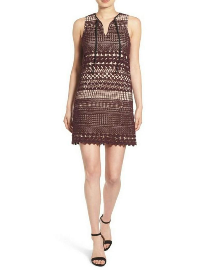 Chelsea28 Burgundy Lace Dress Size S
