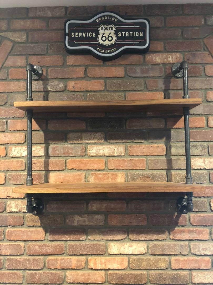 Custom 2-Tier Real White Oak Wood Industrial Pipe Wall Shelf