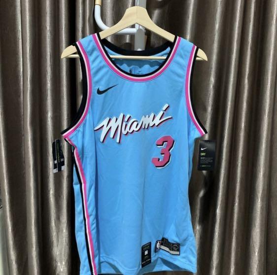 Dwyane Wade Jersey Swingman NBA Basketball Nike Original Authentic 100% Miami Heat Vice City Edition Sky Blue Kaos Baju Basket Asli New Baru Super Rare Sangat Langka Size L