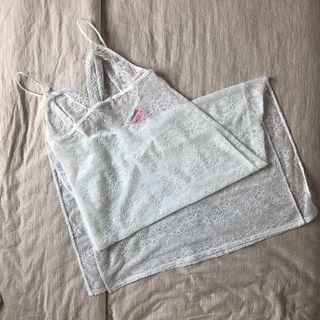La Senza White Lace Long Dress Lingerie