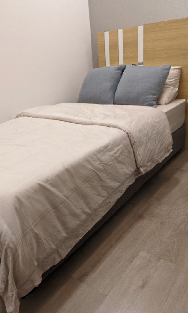 Low Bed Frame Grey Minimalist Furniture Beds Mattresses On Carousell