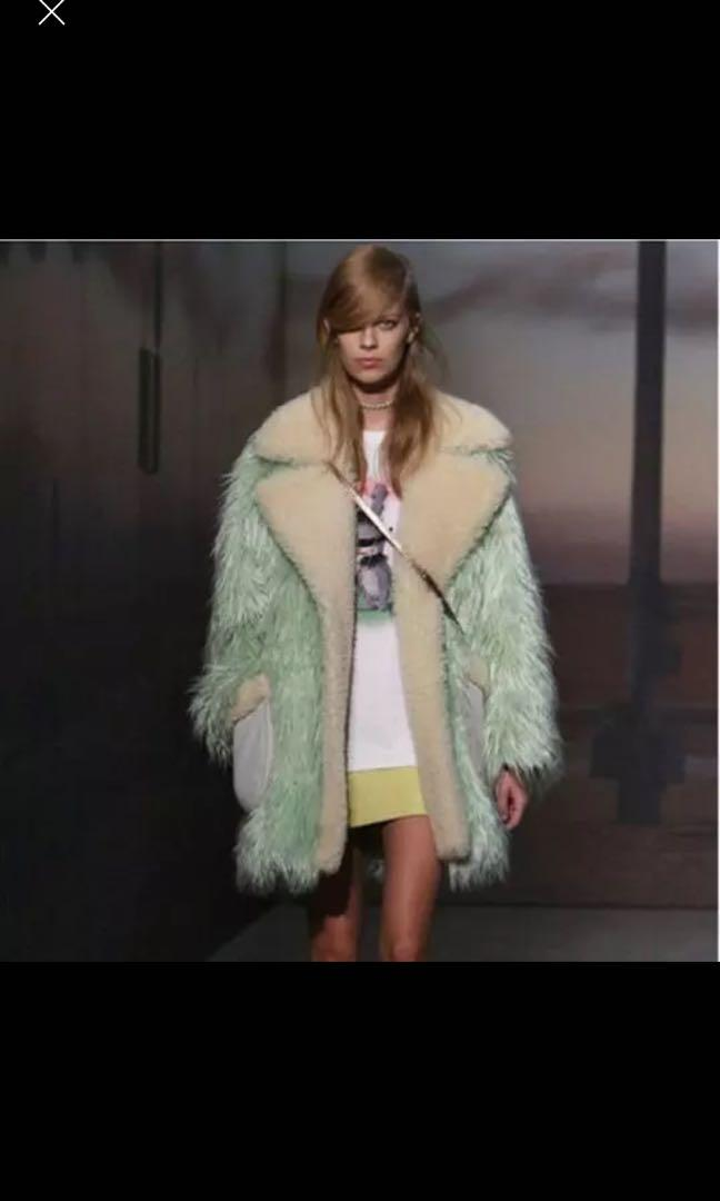Coach Mint Green Cream Faux Fur XL Coat Pockets