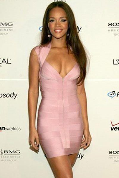 Rihanna Herve Leger Light Pink Bandage BodyCon Dress Size XS