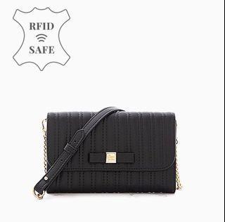 小香風 woc 任性微糖 真皮 RFID 防盜刷 皮夾 護照夾 -黑色,類似Chanel