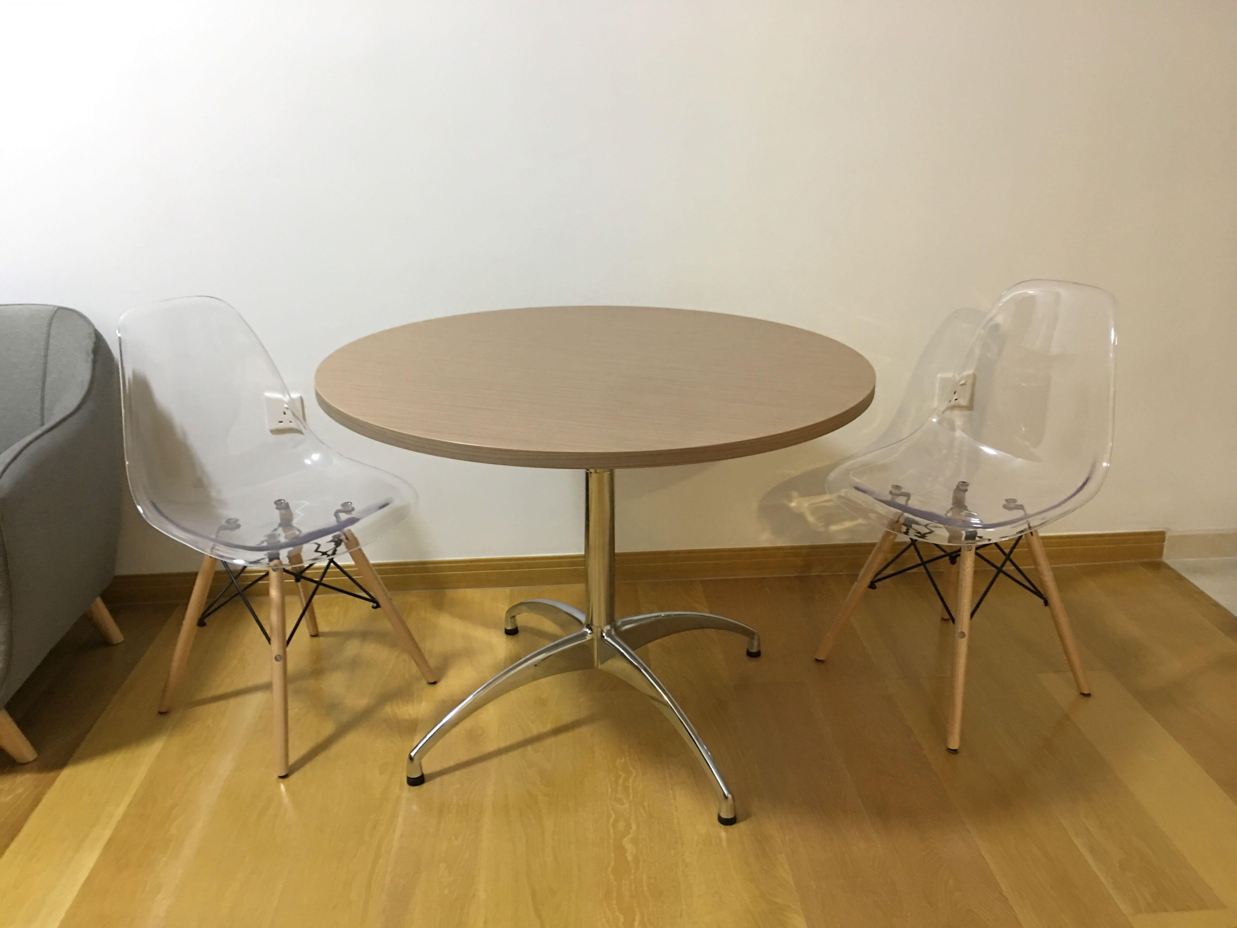 Round Dining Table With Chrome Legs Eames Replica Chair Clear Furniture Tables Chairs On Carousell