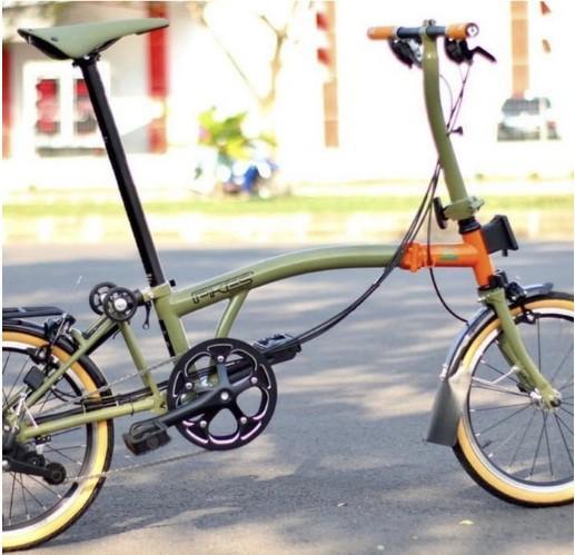 "Sepeda Lipat Element Pikes Gen 2 16"" Nature warna Orange - Green"