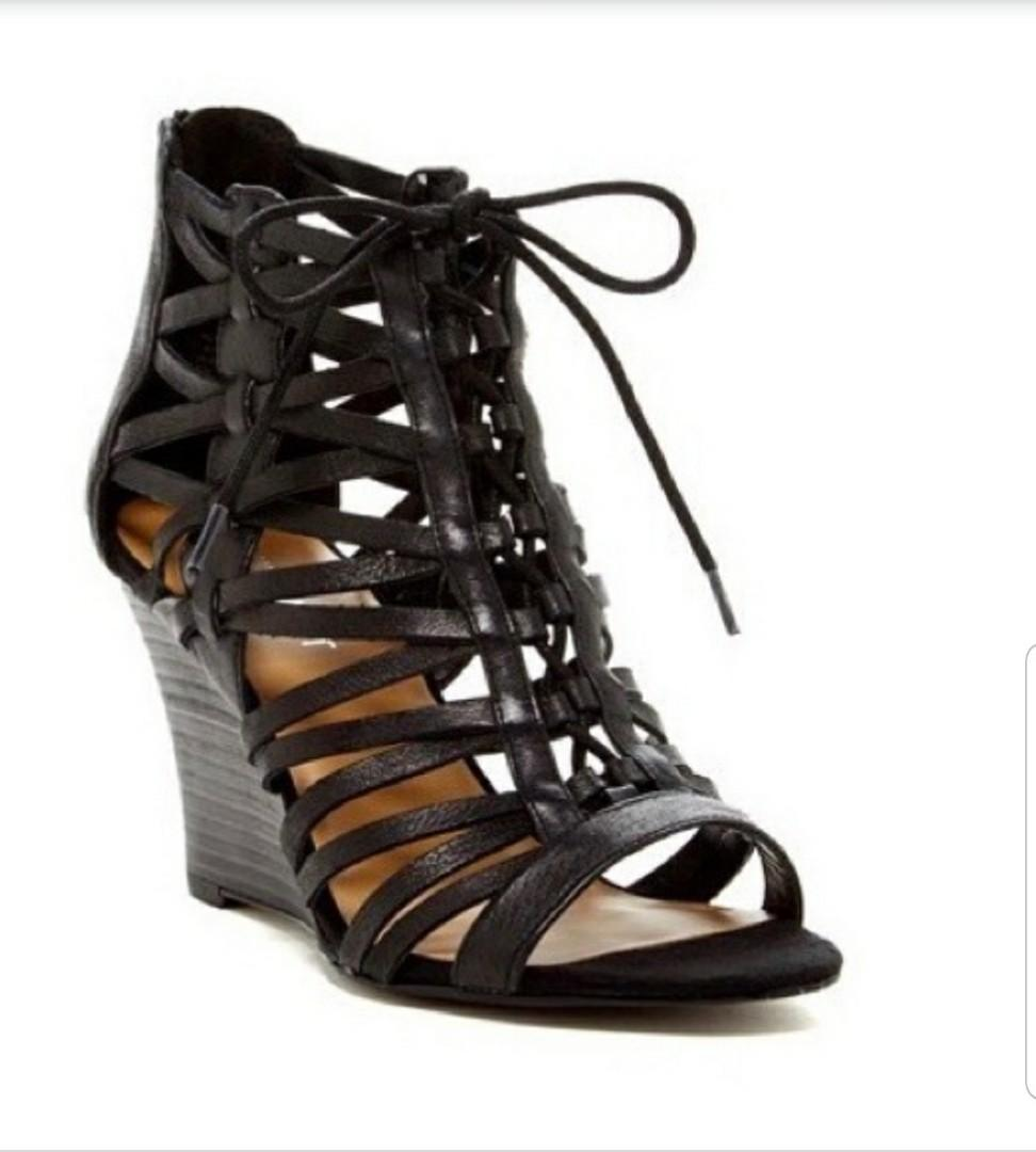 Soft Leather Caged Black Wedges - Size 7
