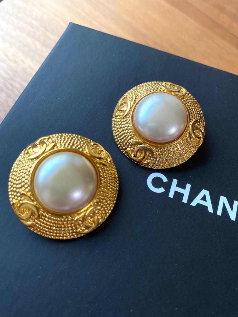 Vintage Chanel 老香 大珍珠夾式耳環