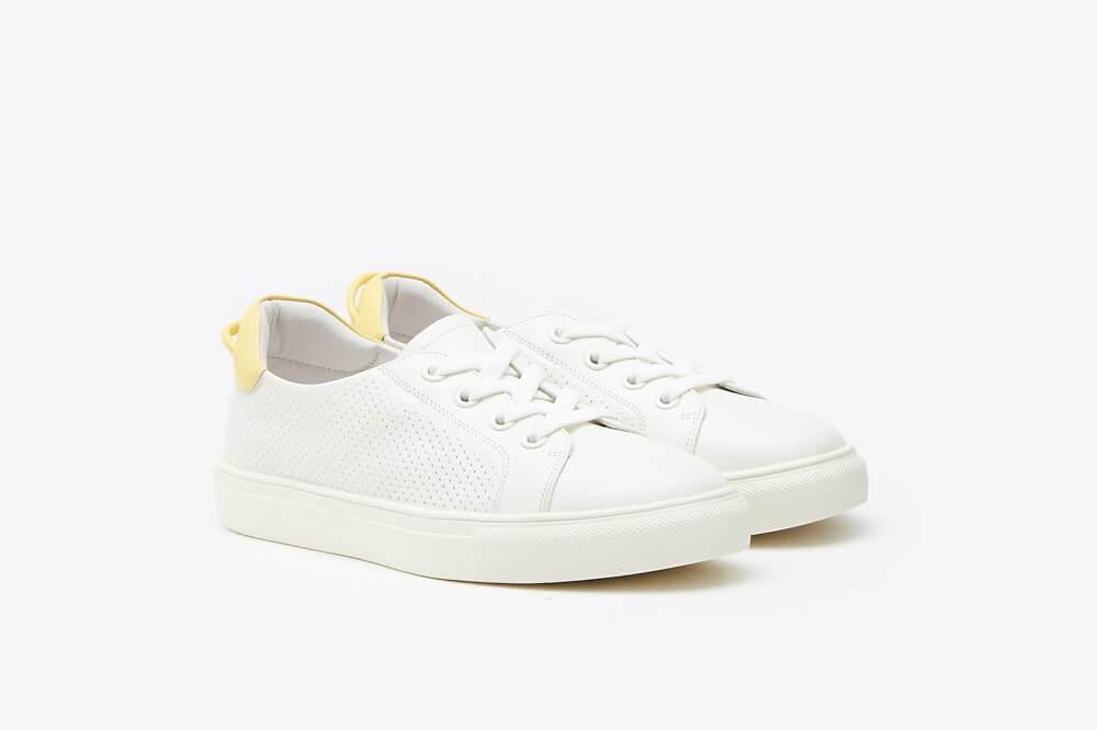 White Sneakers w Pastel Yellow Detail
