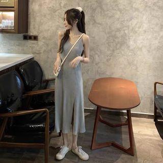 ➿灰色坑條細肩帶洋裝連衣裙