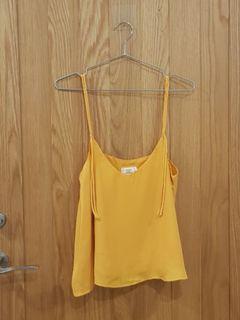 黃色雪紡細肩帶背心
