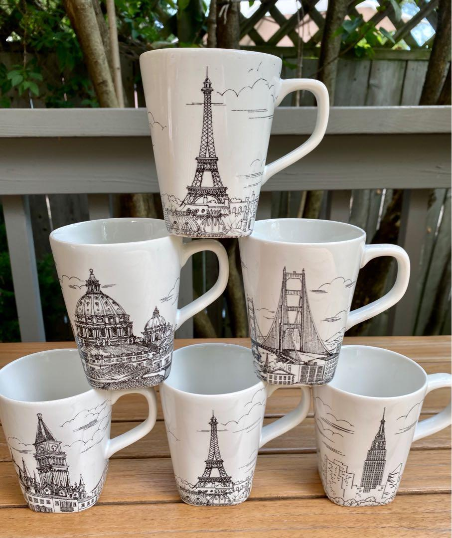 ⭐️ BRAND NEW Set of 6 Beautiful Black and White World City Scene mugs⭐️