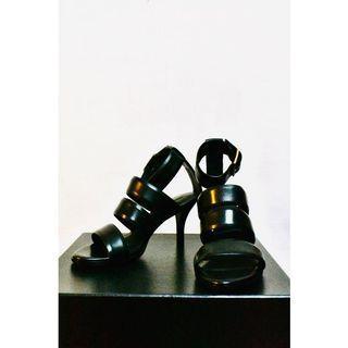 Alexander Wang -  Kerry Triple-Strap Sandal 真皮 羅馬涼鞋 黑色高跟涼鞋 踝帶涼鞋 露趾涼鞋  #618