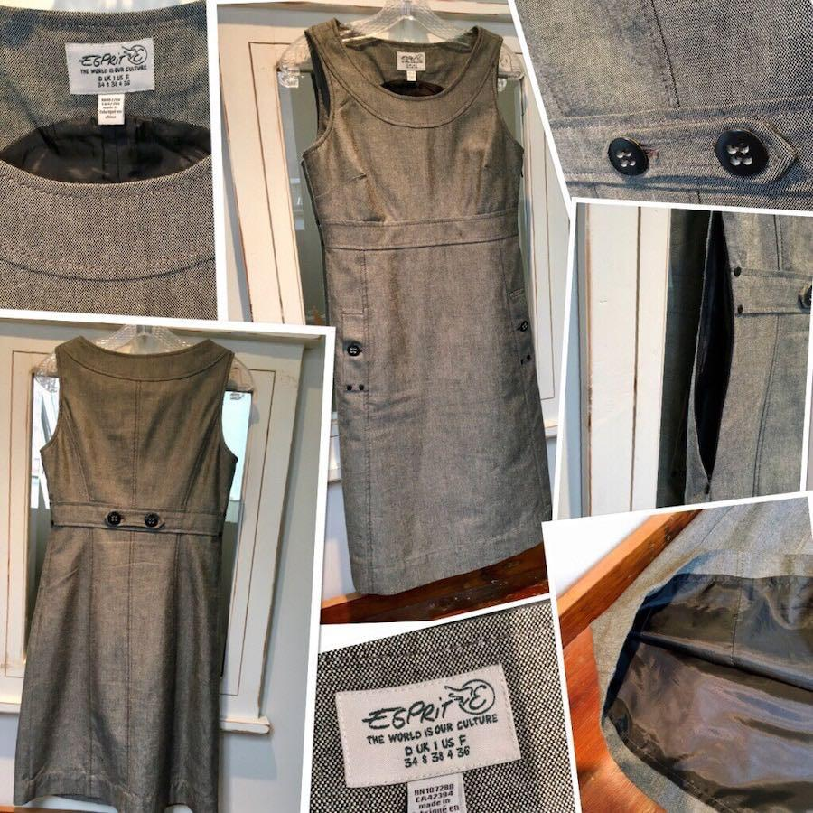 ***Beautiful Esprit tailored grey tunic dress fully lined in US size 4 in new condition***