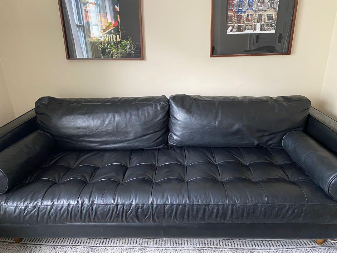 Black Genuine Leather Sofa - Sven Model from Article