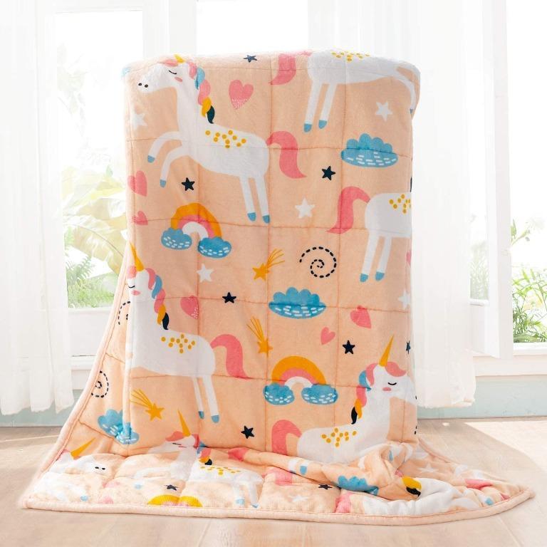 BUZIO Kids Fleece Weighted Blanket 7lbs, Unicorn Blanket for Kids 41 x 60 inches