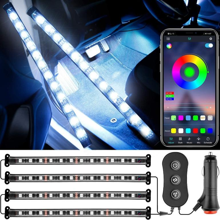 Car LED Interior RBG Strip Light with Control Box and Bluetooth