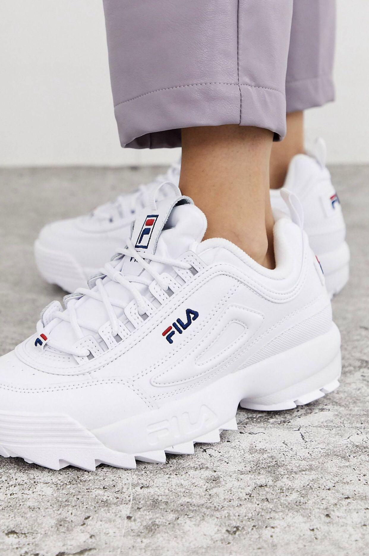 Fila Disruptor Trainers in white, Women