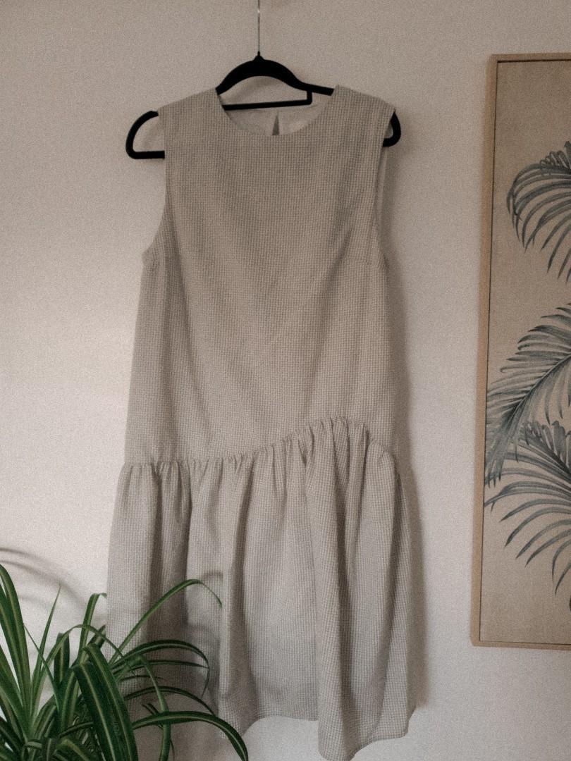 Green gingham sleeveless ruffle dress