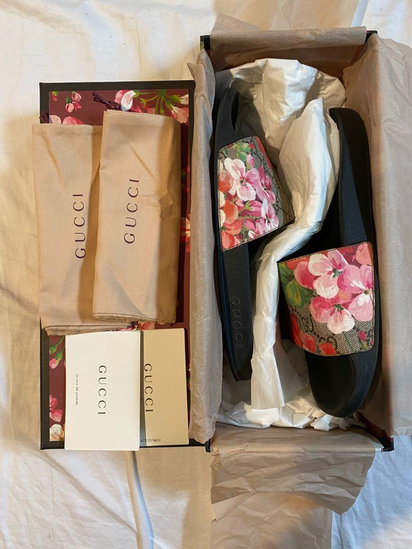 Gucci Supreme Floral Slides (Authentic)