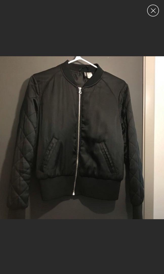 H&M Black Satin Quilted Bomber Jacket