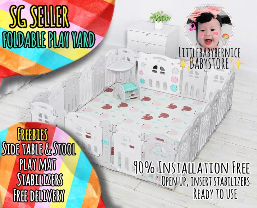 INSTOCK] 🚀Foldable Play Yard with Side Table, Babies & Kids, Cots & Cribs  on Carousell