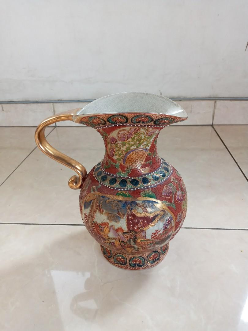 Keramik Antik Teko Merah Gambar Bunga