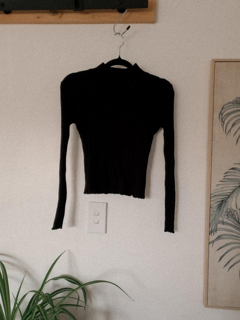 Black mock neck ribbed long sleeve