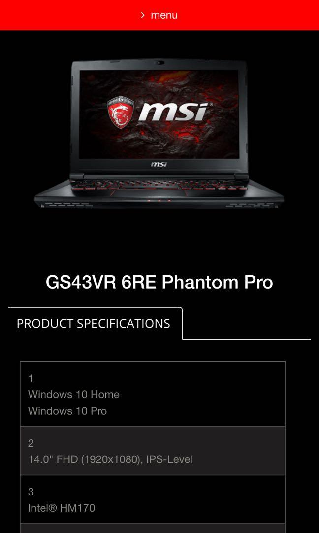 MSI Gtx 1060 GS43VR 6RE Phantom Pro Gaming Laptop