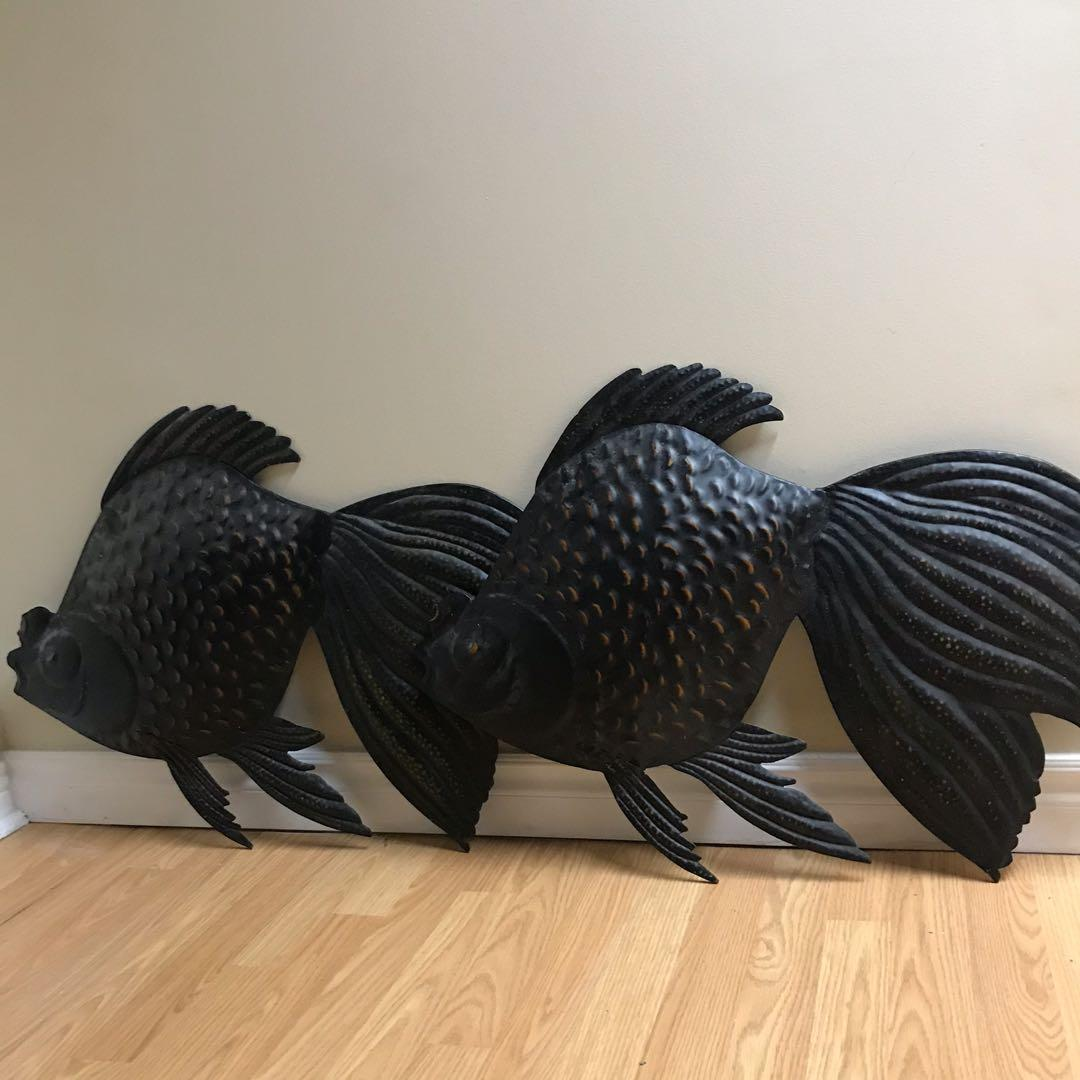 Pair of Beautiful Metal Fish Wall Decoration/ Plaques