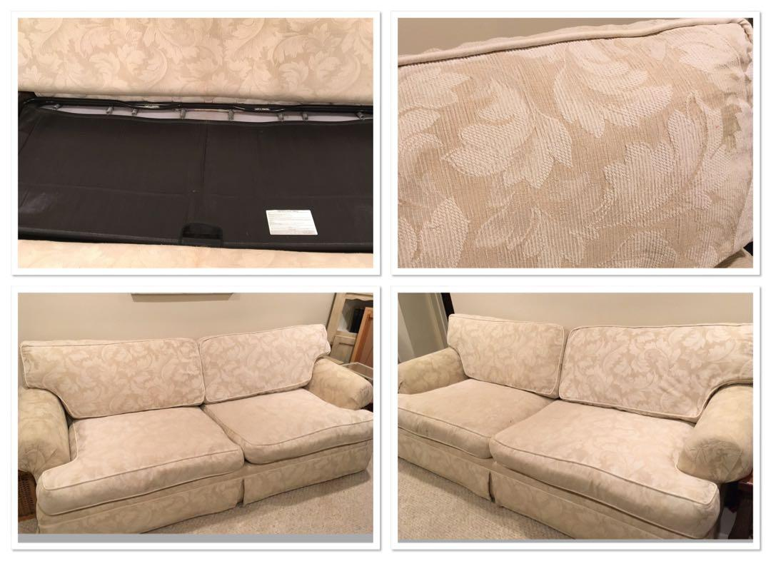 Queen size deep seating  pull out couch with special ordered down wrapped cushions
