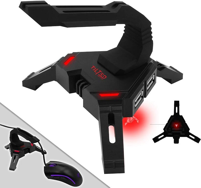 Tilted Nation Gaming Mouse Bungee Cord Holder with 4 Port USB Hub
