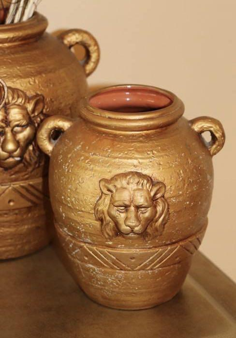 Vintage Lions Head Vase - Set of 2