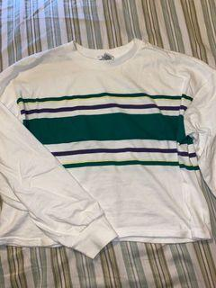White Striped Cropped Long Sleeve Size S