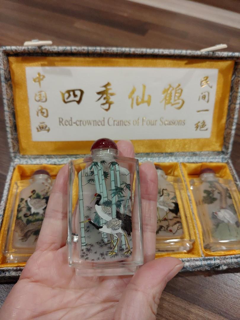 中國內畫四季仙鶴鼻煙壺