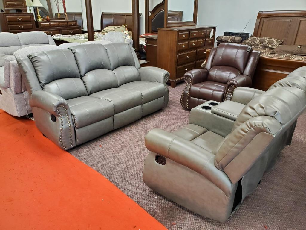 Brand new in box 3 pcs recliner air leather sofa set