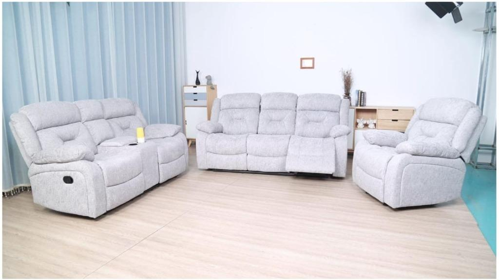 Brand new in box 3 pcs recliner fabric sofa set