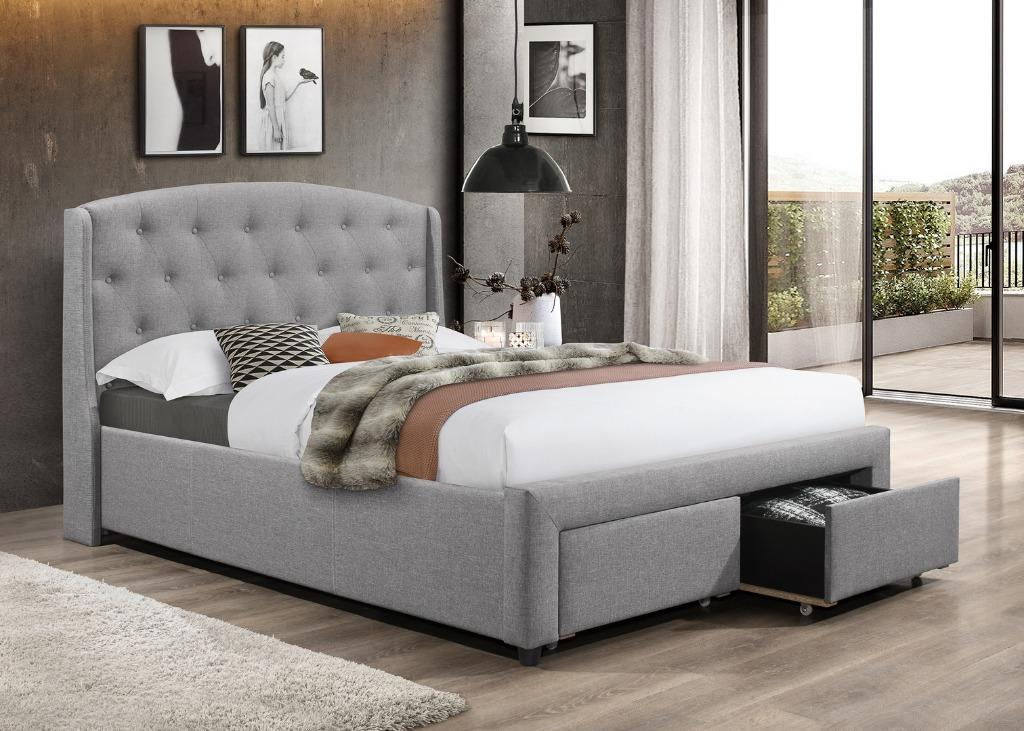 Brand new in box king linen fabric platform bed