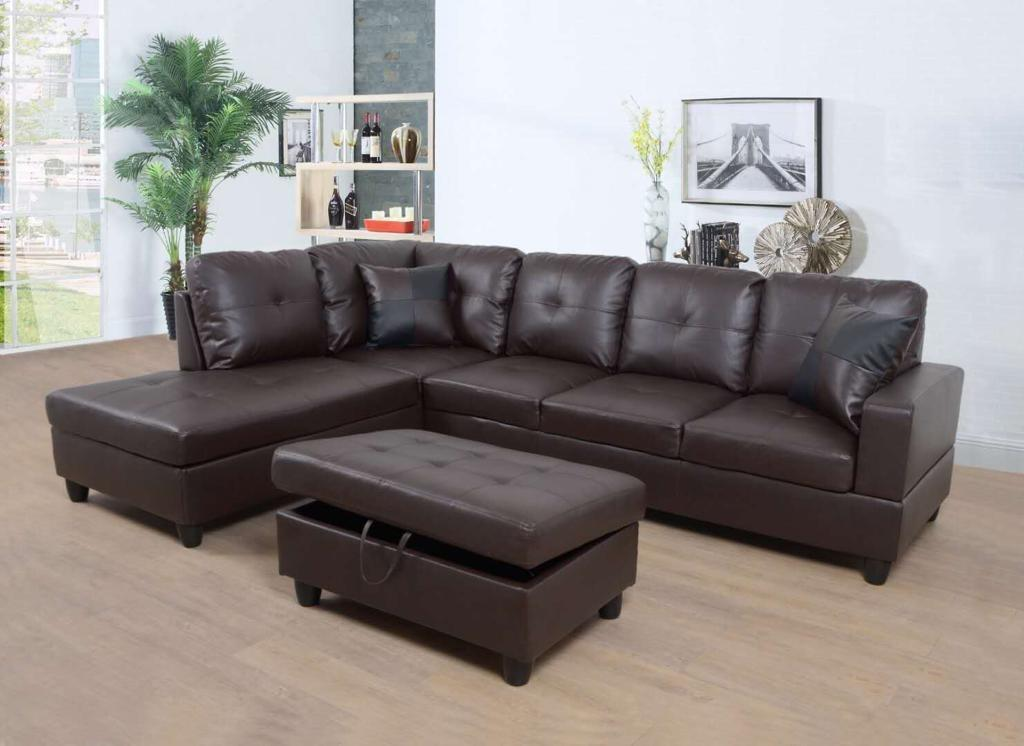 Brand new in box sectional sofa with storage ottoman