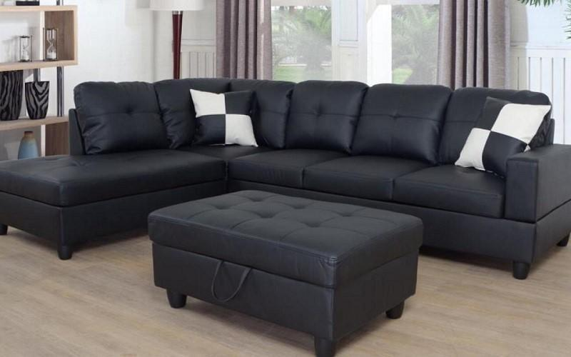 Brand new in box sectional with storage ottoman