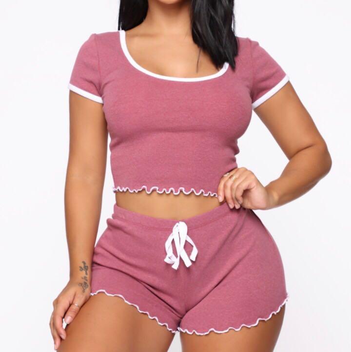 fashion nova pink pj short set