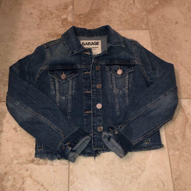 garage dark wash cropped jean jacket
