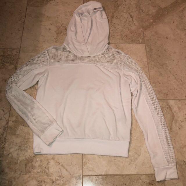 garage white fishnet sweater