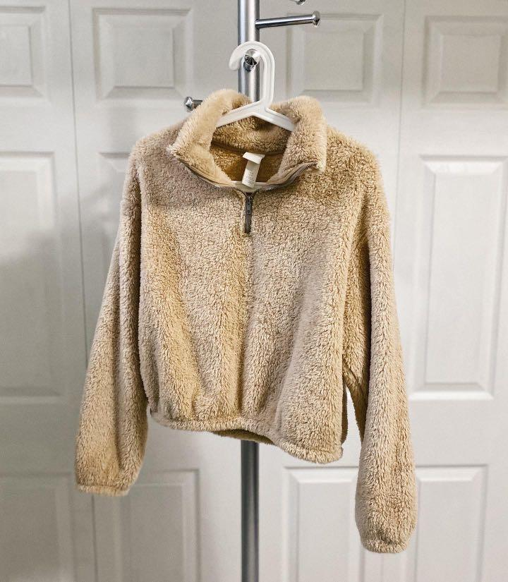H&M 1/4 ZIP FAUX SHEARLING SWEATER