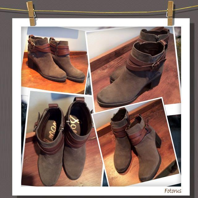 "JUST NOW REDUCED!!!!!!!😁😁😁Brand New and unused Sam Edelman ""Hannah""charcoal grey and brown belted booties in size 7 1/2"