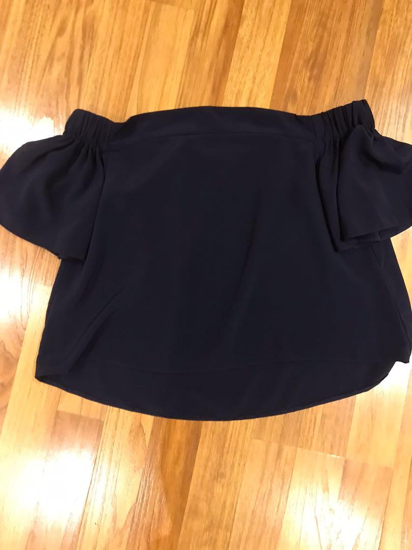 Navy off the shoulder top from M size small